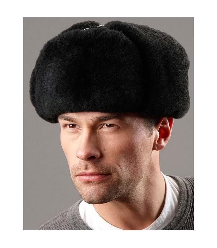 Russian Ushanka Hat - Sheepskin & Leather - Black