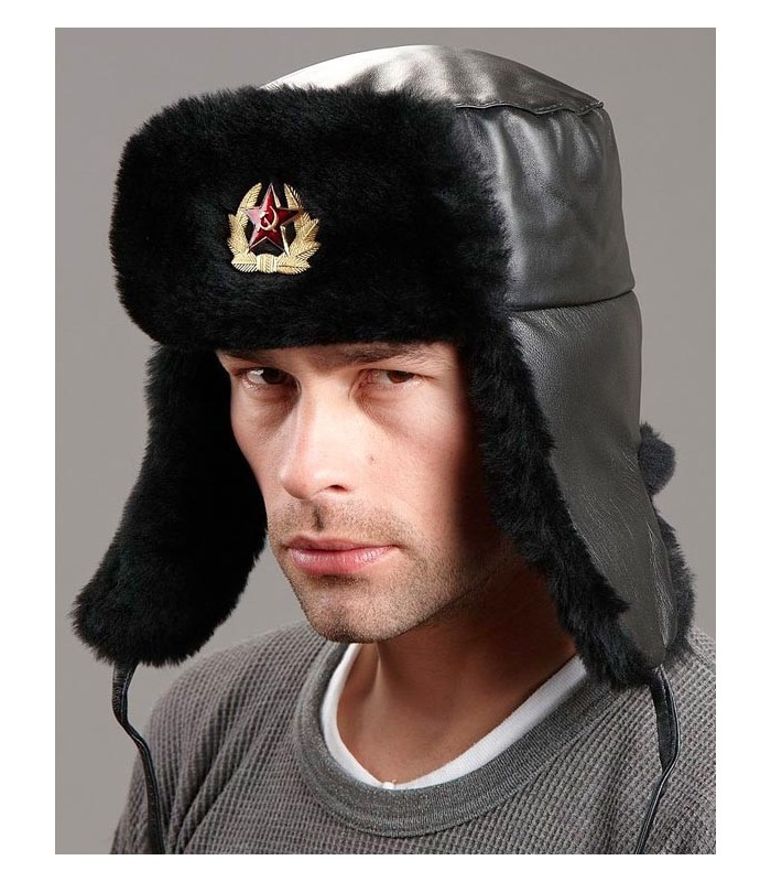 Russian Ushanka Hat with Badge - Mouton Sheepskin & Leather