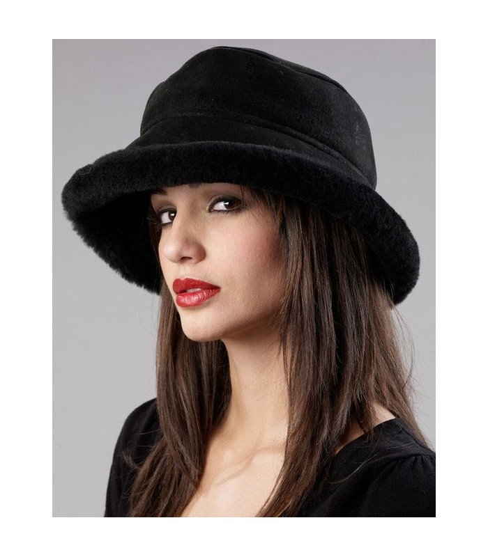 Black Toronto Hat - Shearling Sheepskin