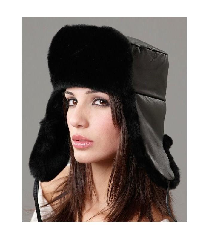 Women's Black Russian Hat - Sheepskin & Leather