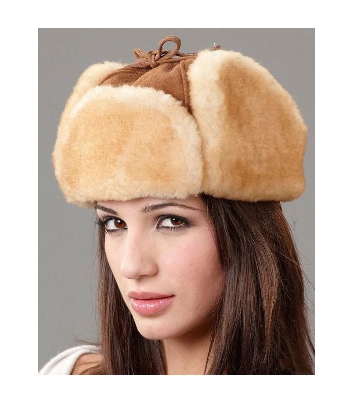 Womens Tan Alaska Trapper Hat - Shearling Sheepskin