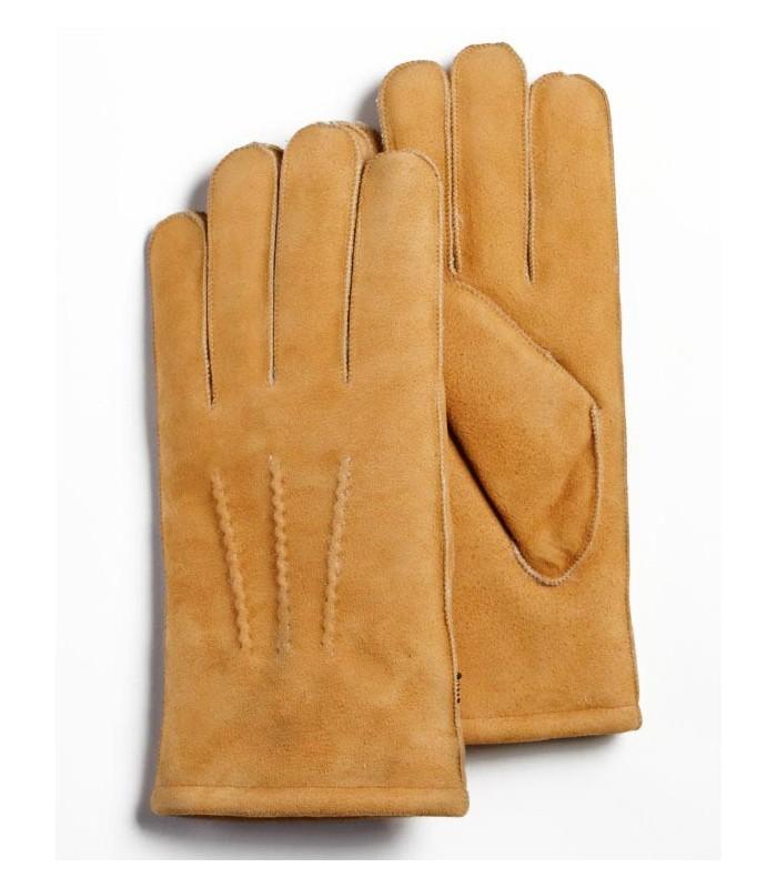 Tan Sheepskin Suede Leather Gloves for Men