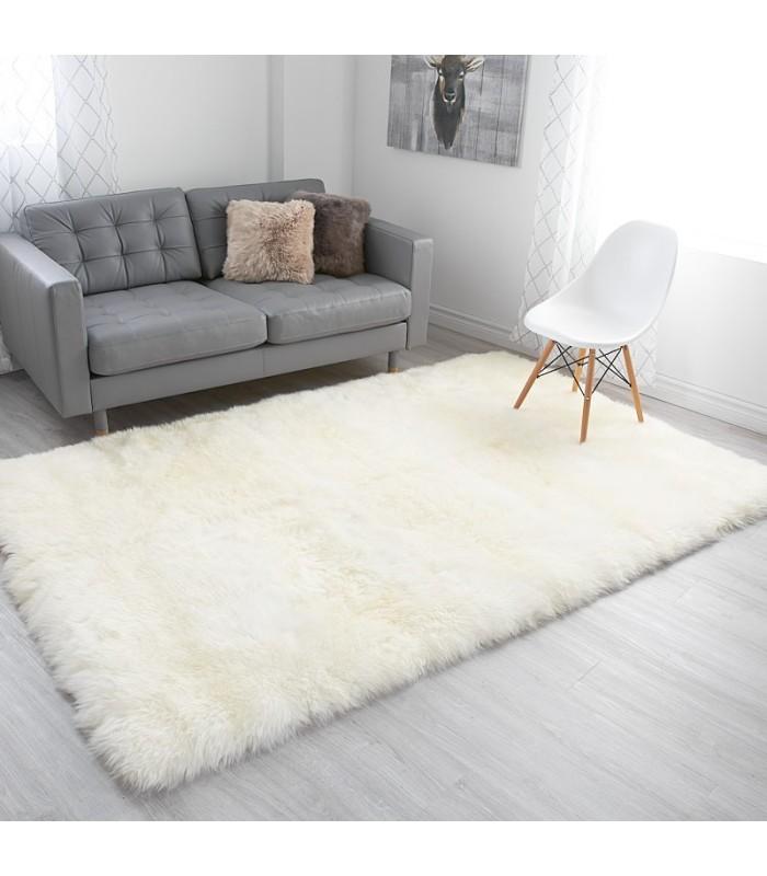 Extra Large Ivory White Sheepskin Area Rug (5x8 feet)