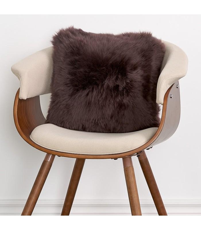 Double Sided Brown Longwool Sheepskin Pillow / Cushion
