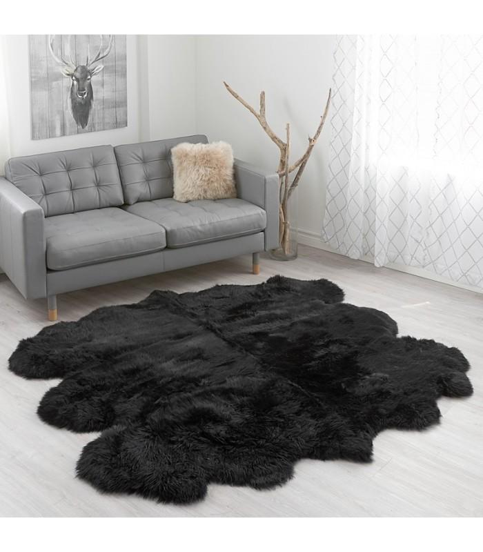 Large Black Sheepskin Rug - 6-pelt Sexto (5.5x6 ft)