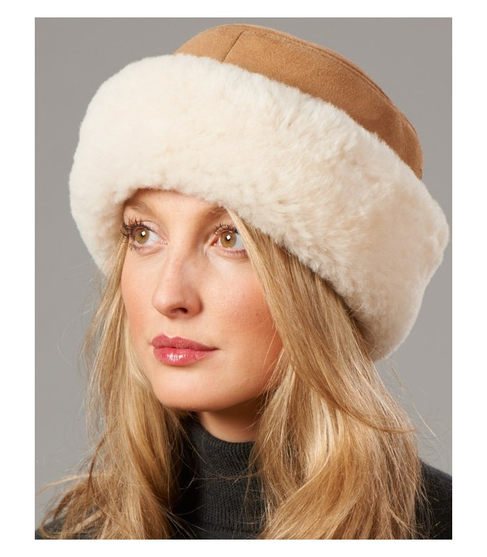 Shearling Sheepskin Cuff Hat - Camel
