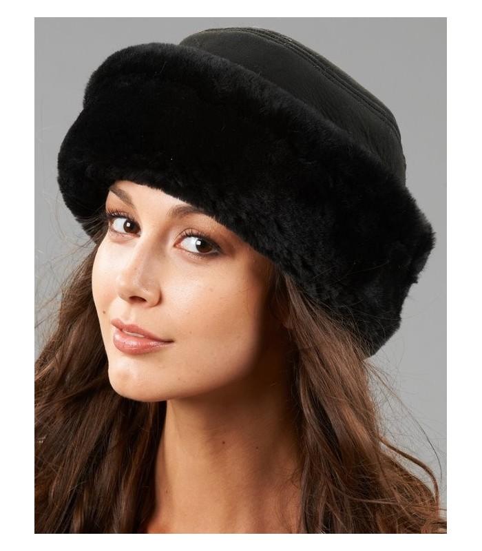 Black Shearling Sheepskin Cuff Hat