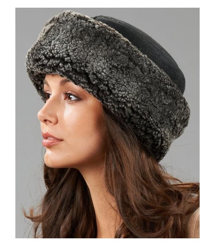 Black Frost Shearling Sheepskin Cuff Hat