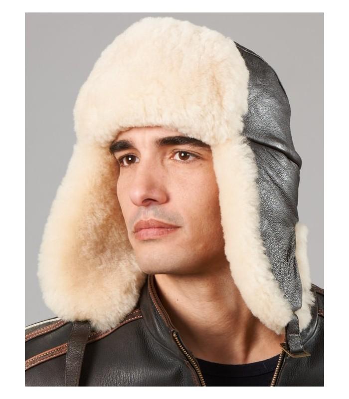 Classic B52 Sheepskin Leather Aviator Hat