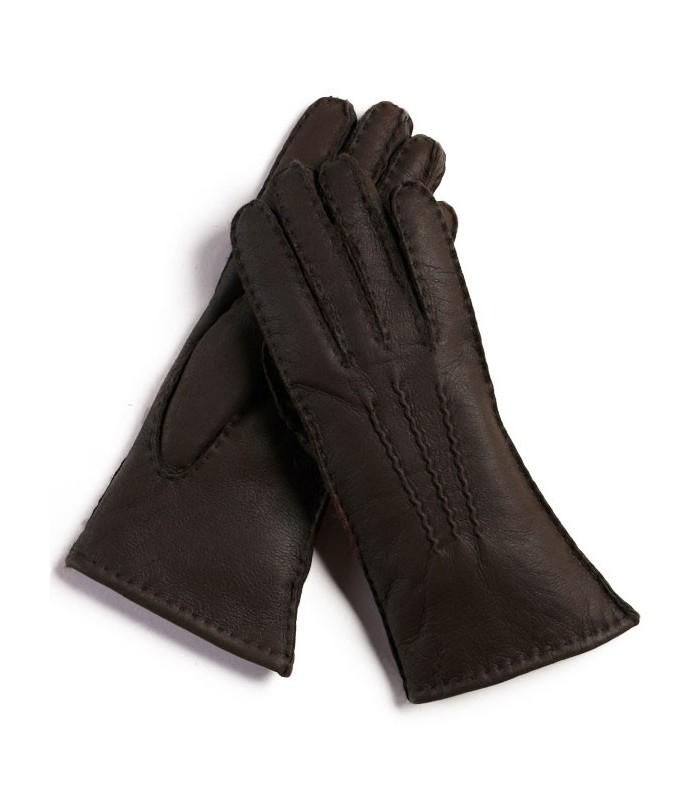 Brown Napa Sheepskin Leather Gloves for Women