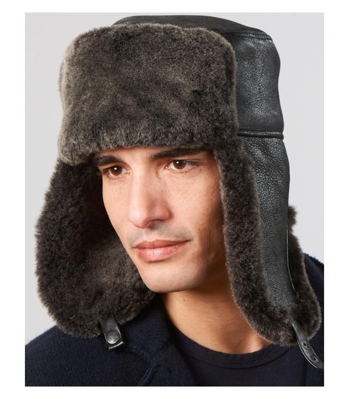 Shearling Sheepskin Russian Hat - Black Frost