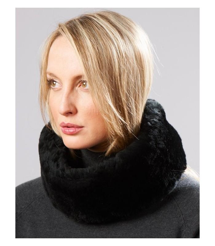 Black Sheepskin Headband with Ties