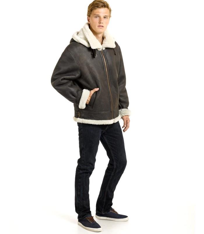 Men's Shearling Sheepskin Bomber Jacket with Hood