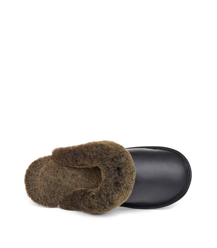 Men's Black Shearling Sheepskin Slip-On Slipper