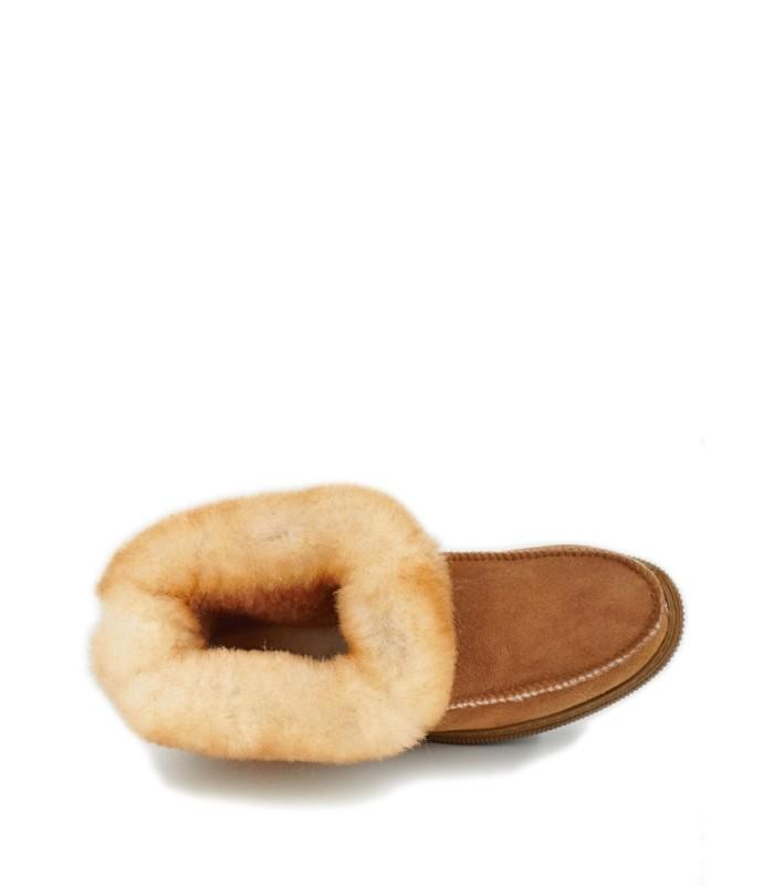 Sheepskin Rubber Sole Deck Slippers