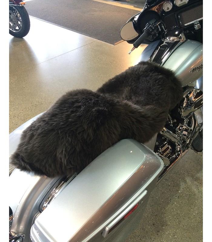 Longwool Sheepskin Motorcycle Seat Cover - Brown Shades