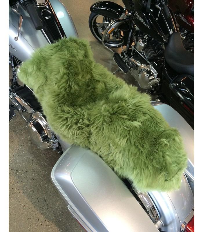 Longwool Sheepskin Motorcycle Seat Cover - Meadow Green