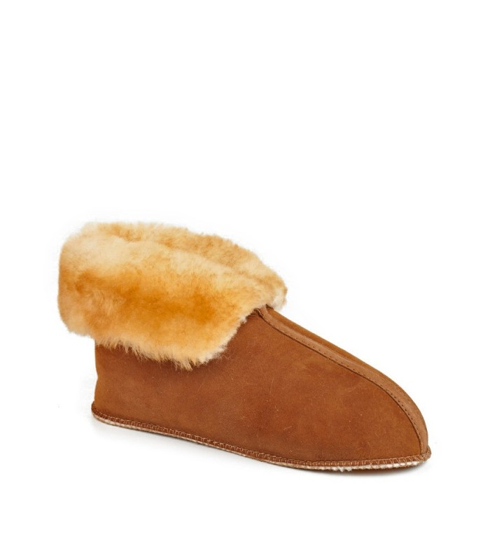 Roll Up Cuff and Soft Leather Sole Sheepskin Cabin Slippers