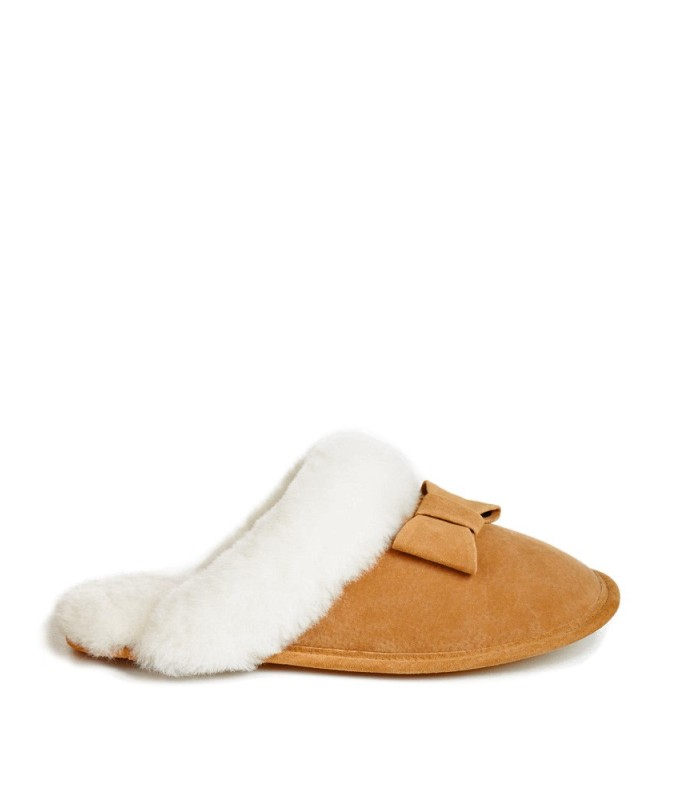 Alicia Suede Bow Ladies Shearling Slipper