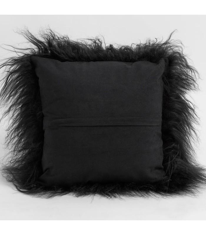 Black Mongolian Lamb Fur Pillow / Cushion