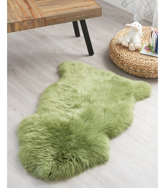 Kid's Crocodile Green Sheepskin Rug (2x3.5 ft)