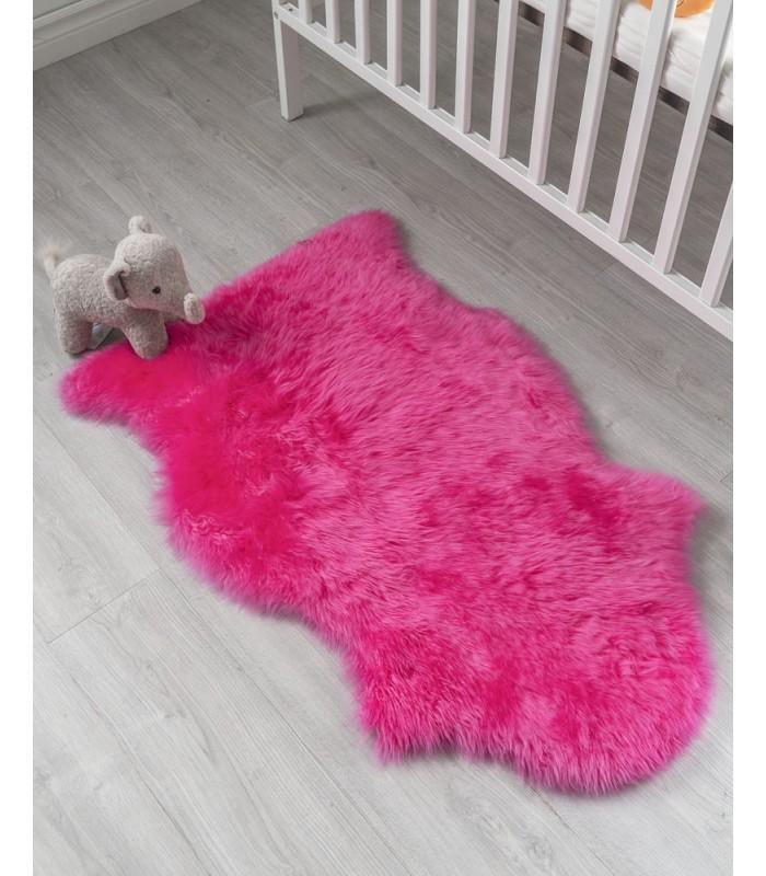Kid's Princess Pink Sheepskin Rug (2x3.5 ft)