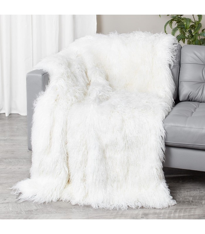 Ivory White Mongolian Fur Blanket / Fur Throw (48x72 in)