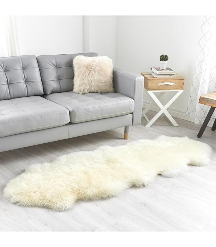Double Ivory White Sheepskin Rug - 2 Pelt (2x6 ft)