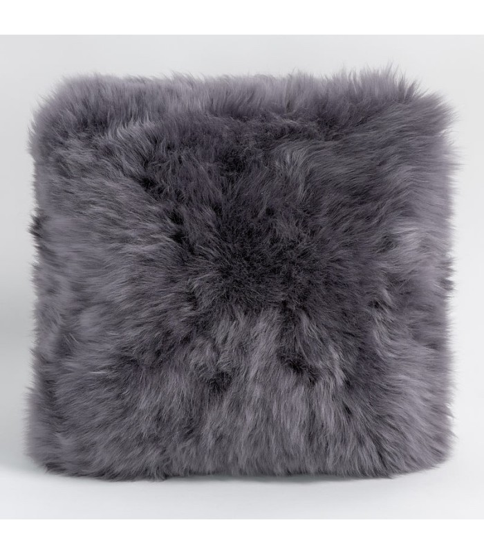 Double Sided Dover Grey Longwool Sheepskin Pillow / Cushion