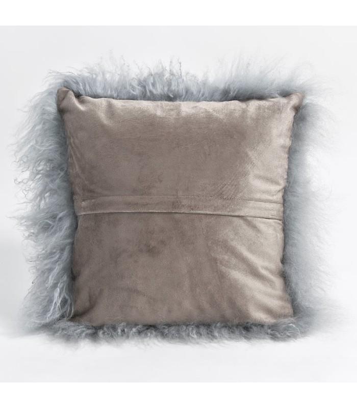 Grey Mongolian Lamb Fur Pillow / Cushion