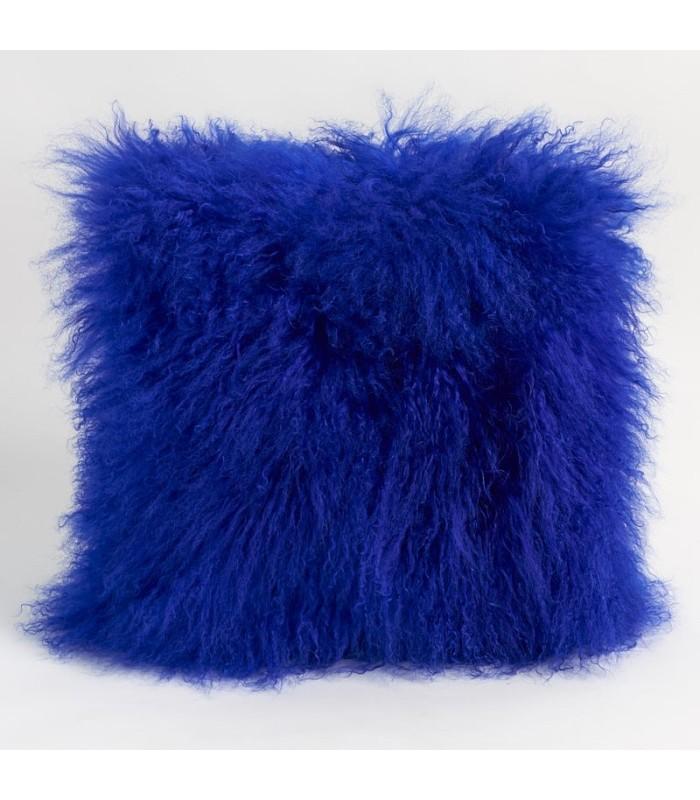 Royal Blue Mongolian Lamb Fur Pillow / Cushion