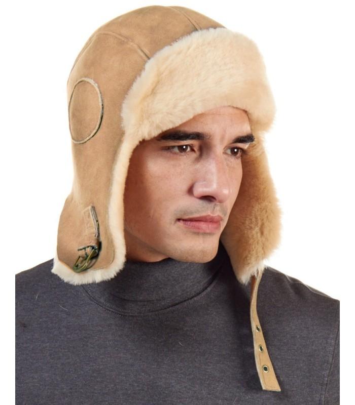 Camel Colored Shearling Sheepskin Pilot Hat