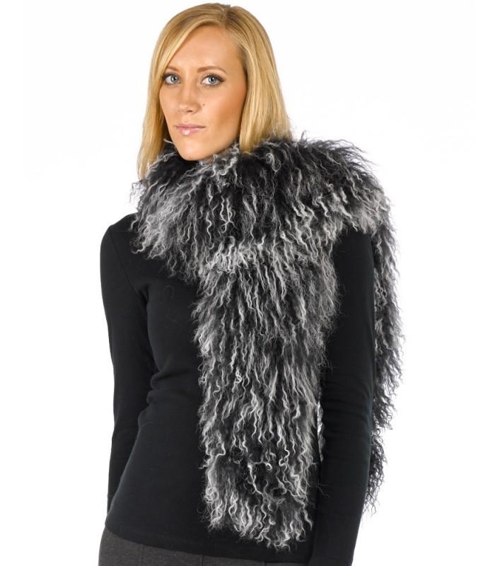 Mongolian Lamb Fur Scarf in Black Frost