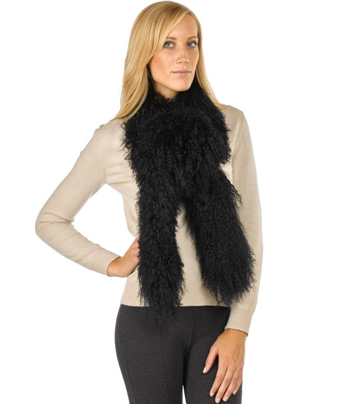 Mongolian Lamb Fur Scarf in Black