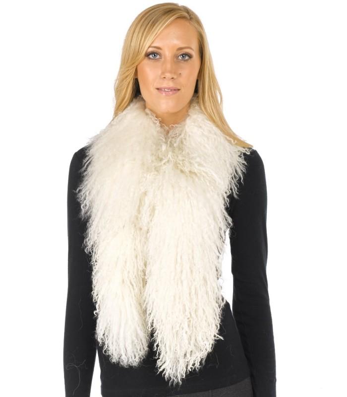 Mongolian Lamb Fur Scarf in Ivory White