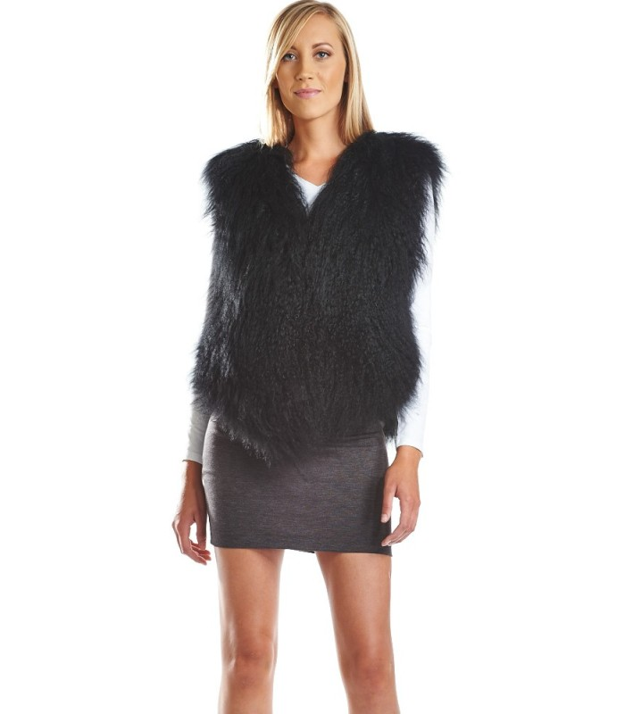 Mongolian Lamb Fur Vest in Black