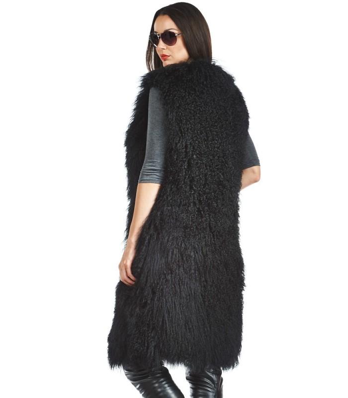 Mongolian Lamb Full Length Duster Vest in Black