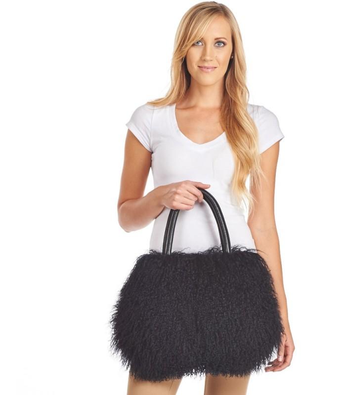 Mongolian Lamb Fur Handbag in Black