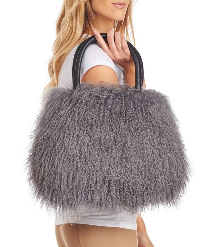 Mongolian Lamb Fur Handbag in Charcoal