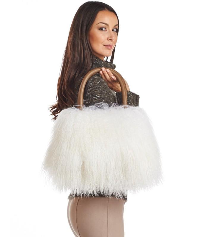 Mongolian Lamb Fur Handbag in Ivory White