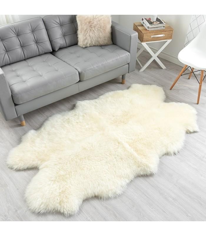 Ivory White Sheepskin Area Rug- Four Pelt- Quatro (4x6 ft)