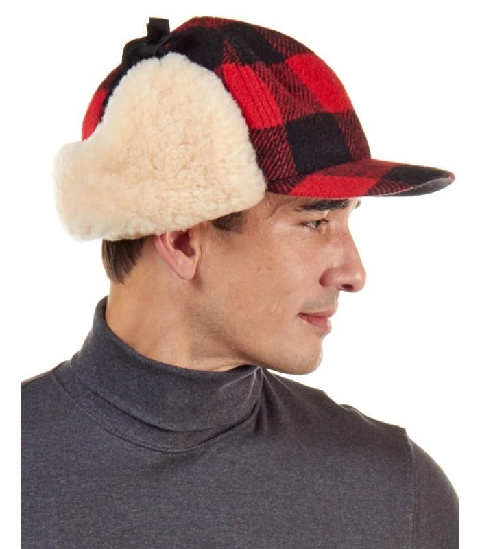 Shearling Sheepskin Fudd Hat in Red/Black Buffalo Check