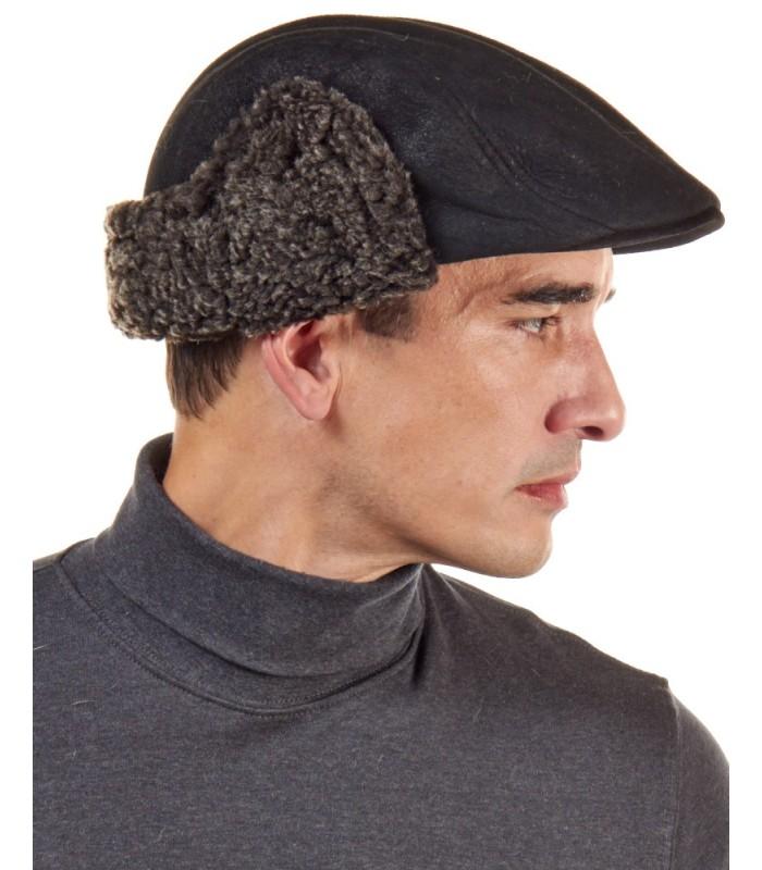 Shearling Sheepskin Polo Cap in Black Frost