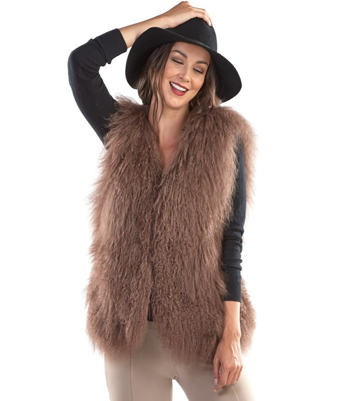 Mongolian Lamb Fur Vest in Brown