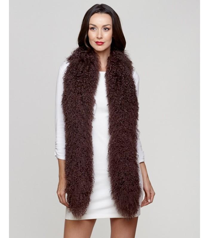 Mongolian Lamb Fur Scarf in Chocolate Brown