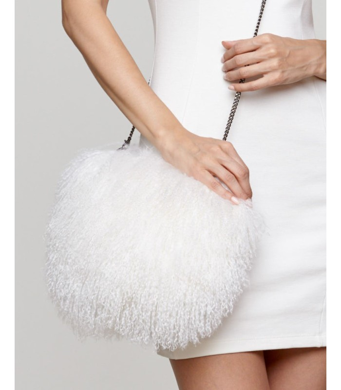 Mongolian Lamb Fur Purse in White