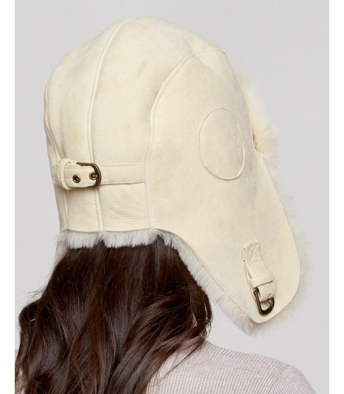 Ladies Stone Colored Shearling Sheepskin Pilot Hat
