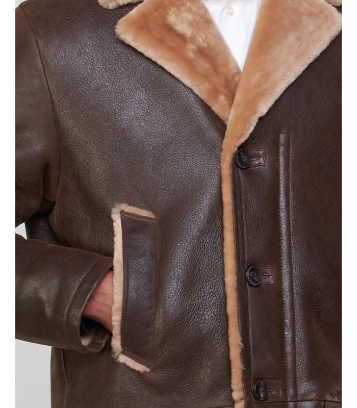 Shearling Sheepskin Car Coat for Men