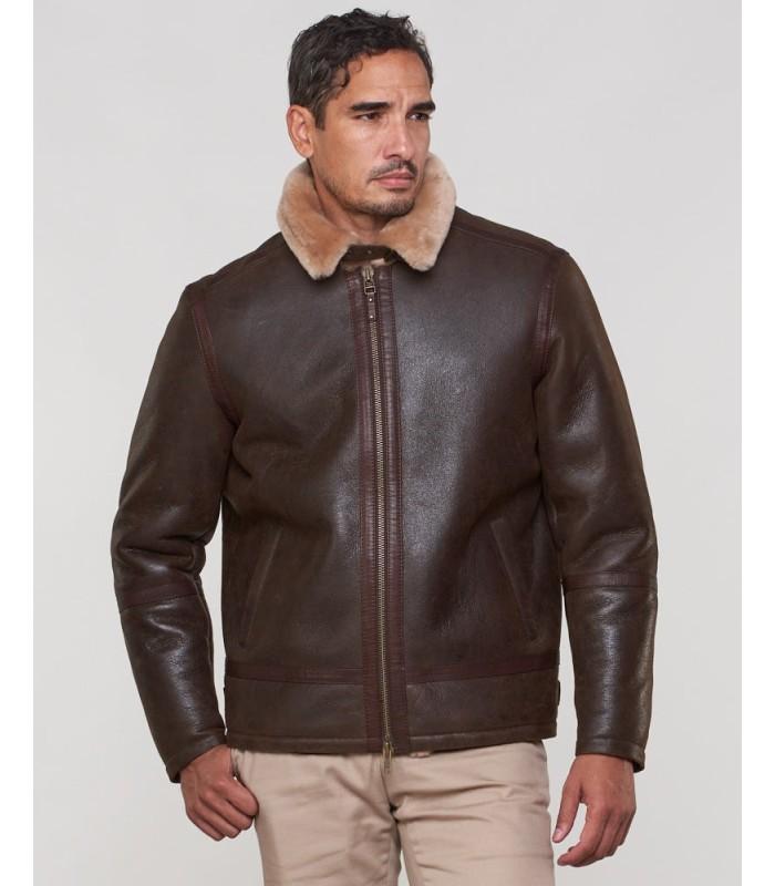 Shearling Sheepskin Bomber Jacket for Men