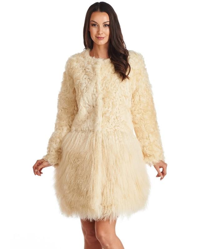 Mongolian and Curly Lamb Fur Coat in Beige